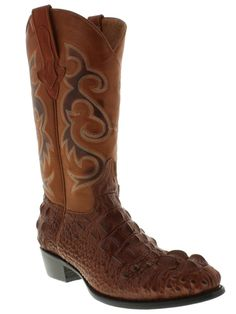 Mens crocodile alligator cowboy boots Cognac leather head cut western round toe #ElPresidenteBootCompany #CowboyWestern