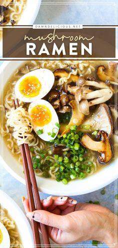 No need to order out when you've got these homemade ramen noodles for an easy meal! With a perfectly seasoned mushroom broth plus your favorite toppings, it is such good comfort food. Save this tasty dinner recipe! Ramen Noodle Recipes, Easy Pasta Recipes, Ramen Noodles, Easy Meals, Delicious Dinner Recipes, Yummy Food, Tasty, Ramen Broth, Homemade Ramen