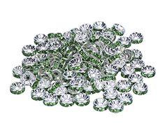 niceeshop(TM) 1 Sack (100Pcs) Kristall Silber Plattiert Rand Farbenreich Perle 8mm-Hell Grün - http://schmuckhaus.online/niceeshop/hell-gruen-niceeshop-tm-1-sack-100pcs-kristall-8mm