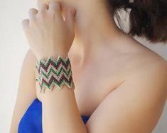 Handmade Statement Jewelry by Artellies on Etsy Beach Bracelets, Trendy Bracelets, Unique Necklaces, Unique Jewelry, Tassel Bracelet, Shell Bracelet, Turquoise Cuff, Turquoise Jewelry, Summer Jewelry