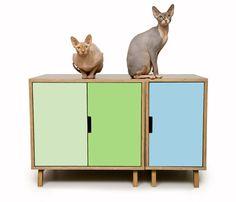 Modernist Cat Modular Cabinet Set litter hideaway | pet house www.modernistcat.com #moderncat #moderncatfurniture #modernpet #litterboxcover #midcenturymodern #moderndog