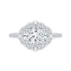 18K White Gold 1/2 Ct Diamond Carizza Semi Mount Engagement Ring fit Oval Center - Mia Carizza