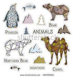 Stickers polygonal animals. Different animals labels patches