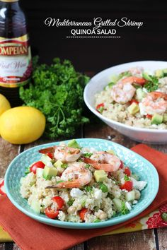 Mediterranean Grilled Shrimp Quinoa Salad - Grilled shrimp is layered over quinoa, fresh veggies and olive oil red wine vinaigrette! #DressingItUp