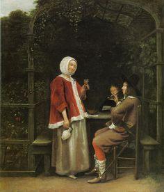 Pieter de Hooch A Woman and Two Men in an Arbor