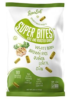 LesserEvil Super Bites Healthy Snack Baked With an All Natural Combination of White Beans Quinoa Lentils Chia Seeds Kale and Roasted Garlic Kale and Roasted Garlic 5 oz Pack of 12 >>> Want to know more, click on the image.