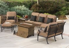 """Olympus Deep Seating Collection with Grand Terrace 38"""" x 56"""" Rectangular Fire Pit, by GenSun. Available at Rich's for the Home."""