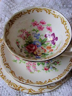 "Royal Albert ""Nosegay"" teacup and saucer (so elegantly lovely!)."