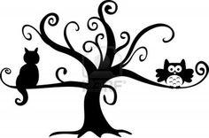 La noche de Halloween del búho y el gato en el árbol Foto de archivo - 14403053