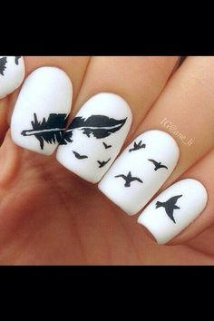 When it comes to nail art or manicures, there are so many choices. Feather design is one of the most popular nail art trend these days. Take a look at these creative feather nail art designs, which will make your nails truly stand out. Fancy Nail Art, Cute Nail Art, Fancy Nails, Love Nails, Color Nails, Gorgeous Nails, Pretty Nails, Perfect Nails, Fantastic Nails