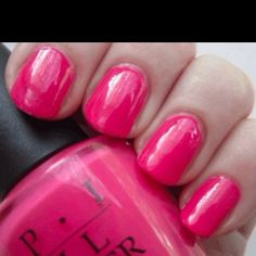OPI Strawberry Margarita is a bright, warm pink. I think this polish is a universally flattering beautiful but boring pink. Opi Nails, Nail Manicure, Nail Polishes, Summer Pedicure Colors, Summer Colors, Cute Nails, Pretty Nails, Opi Pink, Tatoo
