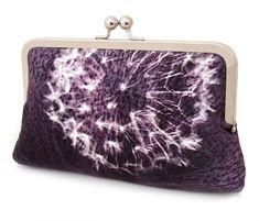 Clutch bag, bridesmaid gift, wedding purse, purple aubergine silk, DANDELION CLOCKS on Etsy, $85.00