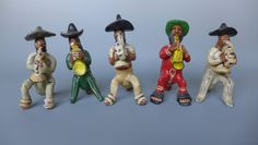 "Vintage Mexican Ocumicho 5 piece band musician sculpture whistles up to 7"" tall"