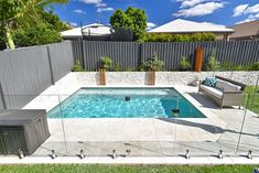 Discover 25 swimming pool fence ideas for your inspiration. A collection of pool fence ideas landscaping: inground pool fence ideas, pool privacy fence ideas, wooden pool fence ideas. Backyard Pool Landscaping, Small Backyard Pools, Backyard Pool Designs, Pool Fence, Small Backyards, Landscaping Ideas, Small Inground Pool, Acreage Landscaping, Pergola Designs