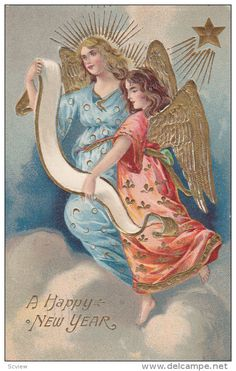 NEW YEAR, PU-1910; Angels, A Happy New Year