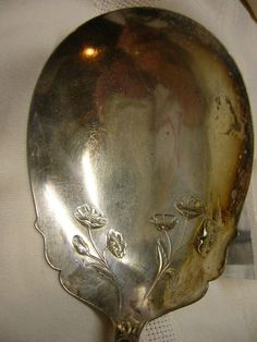 Vintage Sterling Serving Spoon Sheffield Plate with Shell Handle Flower Design