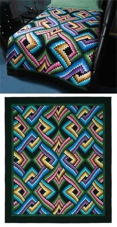 51 New Ideas Crochet Afghan Patterns Modern Quilts Bargello Quilt Patterns, Patchwork Quilt, Bargello Quilts, Quilt Patterns Free, Crochet Patterns, Afghan Patterns, Free Pattern, Crochet Afghans, Modern Crochet Blanket