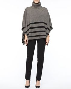 Wool Striped Turtleneck  Poncho, Silk Jersey Long-Sleeve Tee & Slim Ponte Pants by Eileen Fisher at Neiman Marcus.
