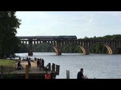Amtrak crossing bridge in Fredericksburg,Va. - YouTube