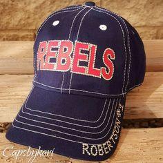 5d17a69783047 Baseball Mom Custom Team Hat Rebels Trucker Cap with by CapsbyKari Baseball  Caps
