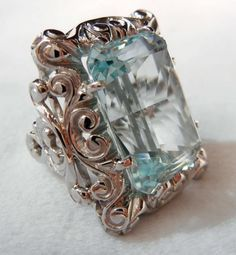 Aquamarine &Sterling Silver Ring