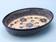 """CA298-163 Blue Poppy - (Large) Oval Baker (7.5"""" x 10.5"""") Hand painted Polish Pottery is safe for use in the oven, microwave and dishwasher"""