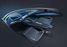 Design Sketch Gallery: Audi Sport quattro Concept (part Car Interior Sketch, Car Interior Design, Interior Design Sketches, Car Design Sketch, Interior Rendering, Interior Concept, Car Sketch, Automotive Design, Design Transport