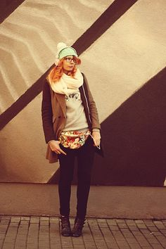 Kasia Cieślik - Made By My Friend Mint Cap, H&M Fluffy Scarf, Paprocki&Brzozowski Blouse, Asos Coat, Bershka Jeans, Bajki Jak Z Bajki Bag - Make It Back On The Track, Sugar Sweet, No Defeat