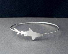 Sterling Silver Shark Bangle Beach Bangle Ocean by TrailAndTide