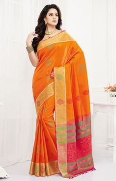 Orange pure silk zari weaved opulent saree with gold multicoloured Indian Silk Sarees, Indian Designer Sarees, Soft Silk Sarees, Indian Beauty Saree, Bridal Sarees Online, Buy Sarees Online, Saree Shopping, Saree Wedding, Pure Silk