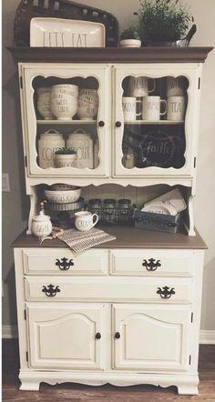 Home Decor Kitchen, Country Kitchen, Diy Home Decor, Hutch Makeover, Furniture Makeover, Refurbished Furniture, Repurposed Furniture, Dining Room Hutch, Kitchen Hutch