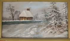 Church In the Snow    The following outer rounding board paintings are professionally restored paintings originally placed in 1910 for the Silver Beach Fred Dolle Carousel in St. Joseph, Michigan. They were painted by German immigrant, August Wolfinger. They were restored during the period of 2007-2008, by Denver based fine artist and professional restorer, Eddie Friedman, now deceased.