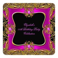 Leopard Hot Pink Gold Jewel Black Birthday Party Customized Announcement Card