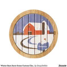 Winter Barn Snow Scene Custom Cheese Board