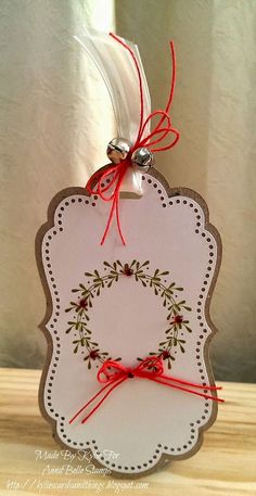 Kylie's Cards and Things: AnnaBelle Stamps July Feature stamped wreath Christmas Tags Handmade, Christmas Paper Crafts, Handmade Gift Tags, Holiday Gift Tags, Christmas Wrapping, Christmas Holiday, Christmas Settings, Xmas Cards, Gift Cards