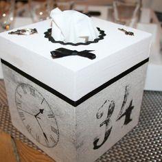 Boite à mouchoirs carré rétro noir et blanc breloques
