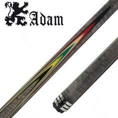 The Adam 904 Carom Billiard Cue is a grey stained Birdseye Maple cue with spliced flame veneers in black/red/natural/green/yellow/black color. It has a stainless steel butt cap and joint collar and comes with 2 8pcs Adam Tech shafts, and an extension.
