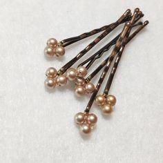 Horquillas oro perlas Swarovski (pasadores de pelo de la boda - set de 6) accesorio de pelo de la boda