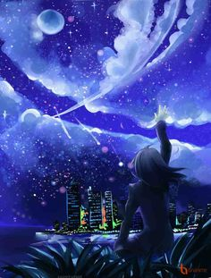 We enjoy the life of the city but we slowly forgot about the true colors of the night sky. Soon this sky may someday remain as a legend to the future ge. Reaching The Sky of the Night Nature Pictures, Cool Pictures, Night Sky Drawing, Japanese Song, Anime Galaxy, Music Drawings, Call Art, Digital Art Girl, Anime Scenery