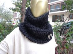 Black Soft Scarf / Chunky Cowl Scarf Women And Men by scarfandyou