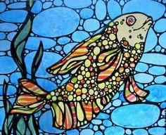 Yellow and Blue Goldfish Original Acrylic Painting by Katiecat79 for $30.00  http://www.zibbet.com/Katiecat79/artwork?artworkId=680259