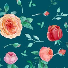 'Apricot Peach Pink Roses on Dark Teal Pattern' Clock by LarkDesigns Sheraton Waikiki, Peach Decor, Dark Teal, Shopping Center, Handmade Decorations, Transparent Stickers, Glossier Stickers, Pink Roses, Online Shopping