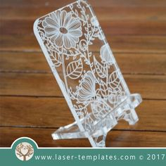 Cell phone stand laser cut floral template, pattern, design, Mothers day gift. Free Vector designs every day. Cell Phone stand.