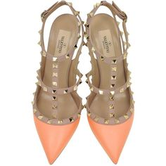 Valentino Shoes Rockstud Melon Sorbet & Powder Leather Ankle Strap... ($700) ❤ liked on Polyvore featuring shoes, pumps, sling back shoes, ankle strap pumps, buckle shoes, sling back pumps and valentino shoes