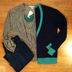 "Nordstrom's Calson Cardi Beautiful navy cardigan with tilurquoise trim, two front pockets and 4 button closure. In excellent condition.55% cotton, 27% arcrylic, 13 poly and 5% angora, very soft and comfy. Approx 24"" from shoulder to hem. Size medium. Calson Sweaters Cardigans"
