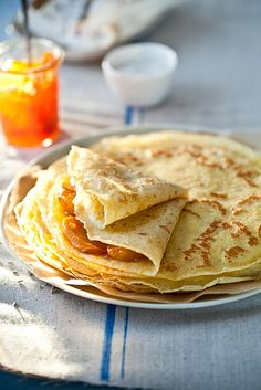 Gluten Free Crepes With Honey Lavender Roasted Persimmons