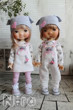 The one in the overalls face looks like they already know the other one will be trouble MeadowDolls BJD's
