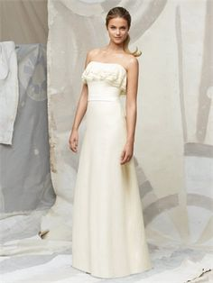 Full length strapless neckline and matching matte satin belt at natural waist bridesmaid dress BD0057