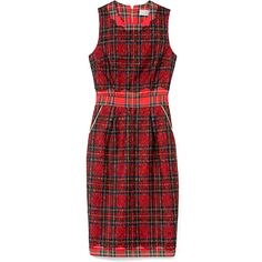 Preen Nancy Lace Overlay Tartan Plaid Fitted Dress (€1.050) ❤ liked on Polyvore featuring dresses, preen, multi, a line dress, red tartan dress, plaid dress, fitted dresses and zip front dress