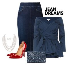 Jean Dreams by alara-cary on Polyvore featuring Isa Arfen, Citizens of Humanity, Christian Louboutin, INC International Concepts, Humble Chic, Kenneth Jay Lane and denimskirts
